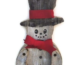 Charming Rustic Snowman from Reclaimed Wood with Moveable Arms