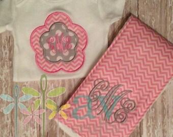 Baby Girl's Pink Chevron and Grey Bodysuit and Burp Cloth Set, Baby Gift