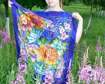 Batik shawl ''Peony'' hand-painted on silk. Hand Painted Silk Scarf. Handmade Scarves.  Luxury gift for her.  Made to order.