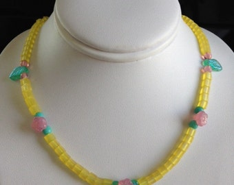 Girls Necklace Yellow With Pink Flowers - Sterling Silver and Suede Ties and Czech Glass Beads