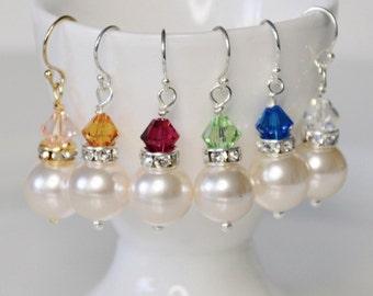Bridal Earrings, Crystal Wedding Earrings, Simple Bridal Earrings, Bridesmaid Earrings, Pearl Wedding Earrings, Customised Earrings