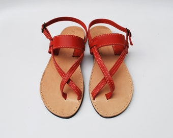 Light Red Women Sandals made with 100% Genuine Leather