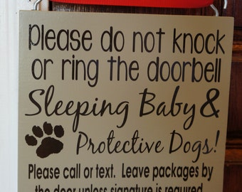 Unique Doorbell Covers; X-Large Sleeping Baby and Protective Dogs Please Do Not Knock or ring the doorbell Cotton Linen Throw Pillow covers Case Cushion Cover Sofa Decorative Square 18 inch X 18 inch Price: $ As of UTC Product prices and availability are accurate as of UTC and are subject to change.