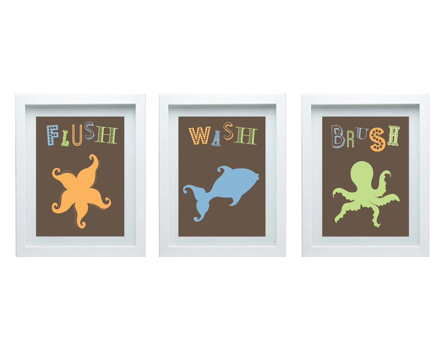 Boys bathroom wall decor bathroom rules starfish octopus fish for Boys wall art