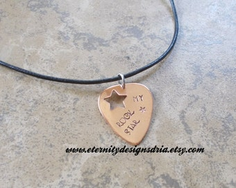 Personalized Guitar Pick Leather Cord Necklace, My Rock Star, Music Gift