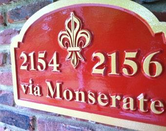Custom Carved Street Address Sign Christian Fleur de Lis - House or Apartment number