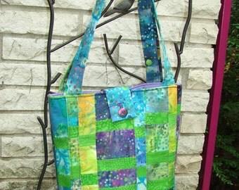Quilted Tote Bag - Purple & Teal Batik