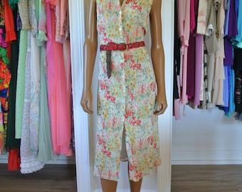 Emanuel Ungaro Dress/French Designer Spring Dress/Chiffon Yellow Floral 1990s Revival Dress/ M