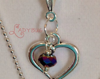 Silver open heart necklace, dark amethyst crystal, silver plated, mini ball chain, nickel free