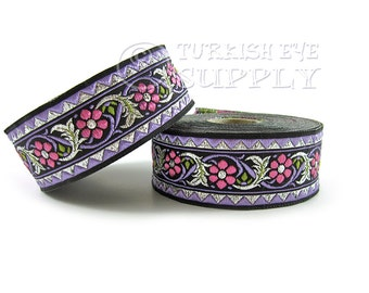 Floral Woven Border Embroidered Ribbon Sewing Trim Silver Black Purple Pink Green Jacquard Ribbon 1 Meter ( 1.09 Yards, 3.3 feet )