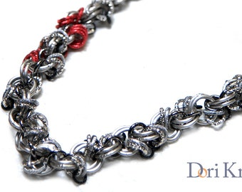 Chunky chain necklace silvered chain with a red spot, long chainmaille necklace, chunky jewelry, chain link necklace, Sale -10%