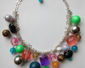 Vintage Colourful Lucite Beads and Sterling Silver Necklace - Hand Made Upcycled Vintage Beads Statement Necklace One of a Kind