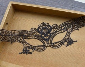 Black Lace Applique, Lace Mask, Masquerade Mask, Black Lace Eye Mask
