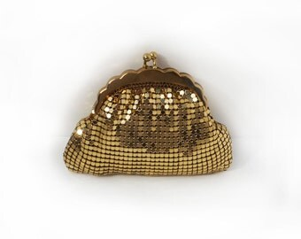 Vintage Change Purse Goldtone Mesh 1950s Whiting and Davis Style Excellent