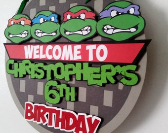 Ninja Turtles Birthday Door Sign, TMNT