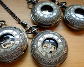 Wedding Set of 8  Emporium Mechanical Pocket Watches with Copper Dial and Watch Chains Groomsmen Gift Ships from Canada