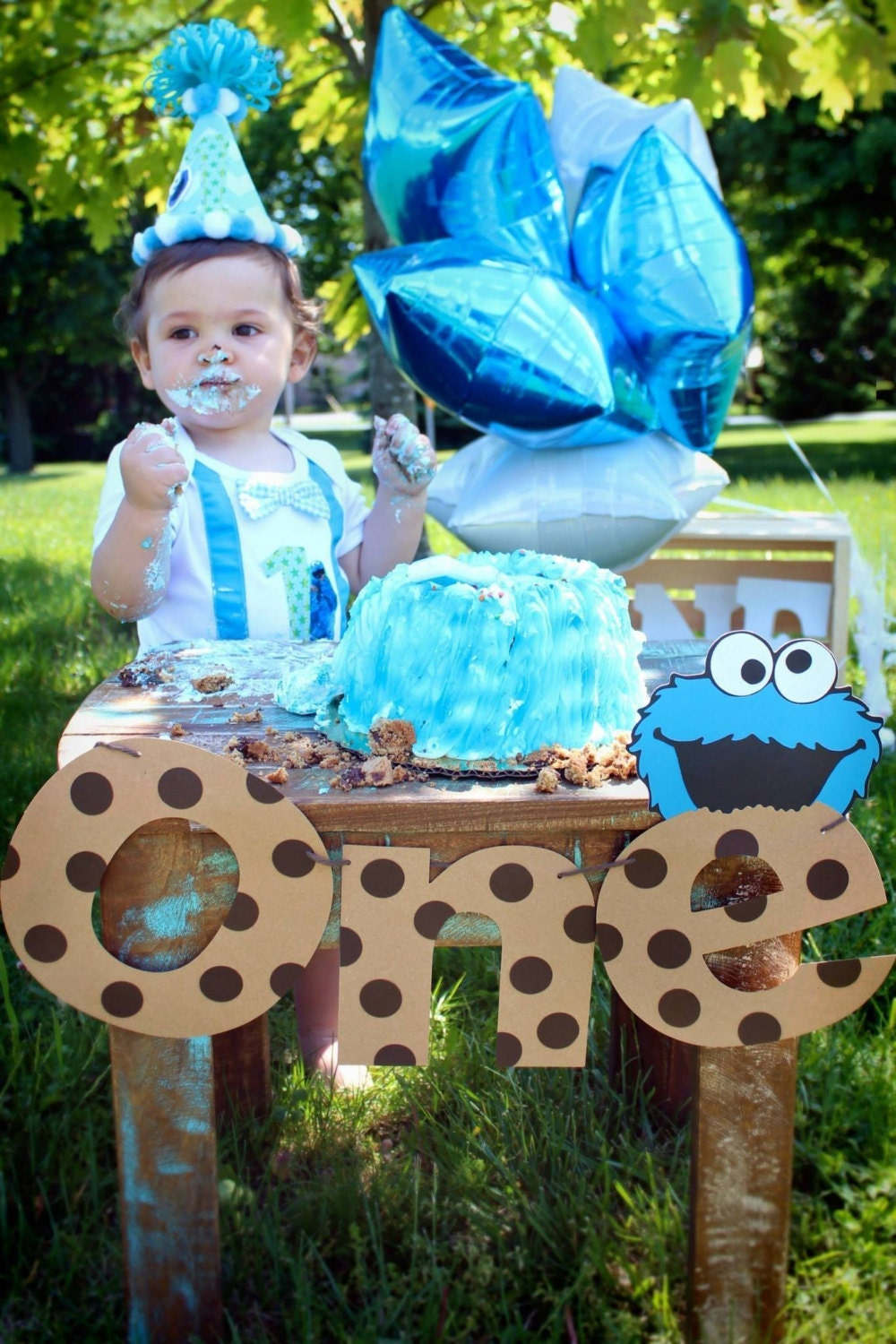 First Birthday Cookie Monster Banner Cookie by MudPuddlesNRuffles