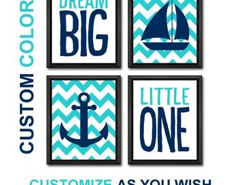 nautical kids room decor, dream big nursery wall saying, nautical nursery, sailboat nursery decor, new baby gift, baby boy nursery nautical