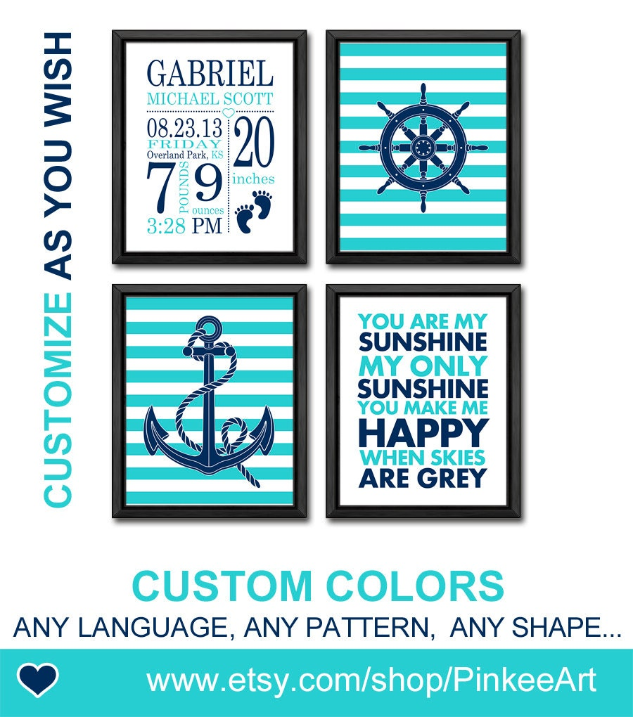 Personalized Nautical Wall Decor : Personalized birth print nautical baby wall decor by pinkeeart