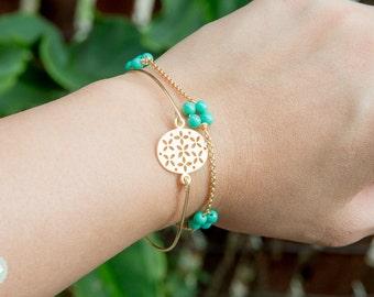 Lucky charm bracelet, clover bracelet, gold bracelet, charm bracelet,trio bracelet,gold chain,cute bracelet, friendship bracelet, gold chain