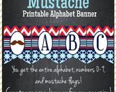 Mustache Printable Alphabet Banner - Instant Download