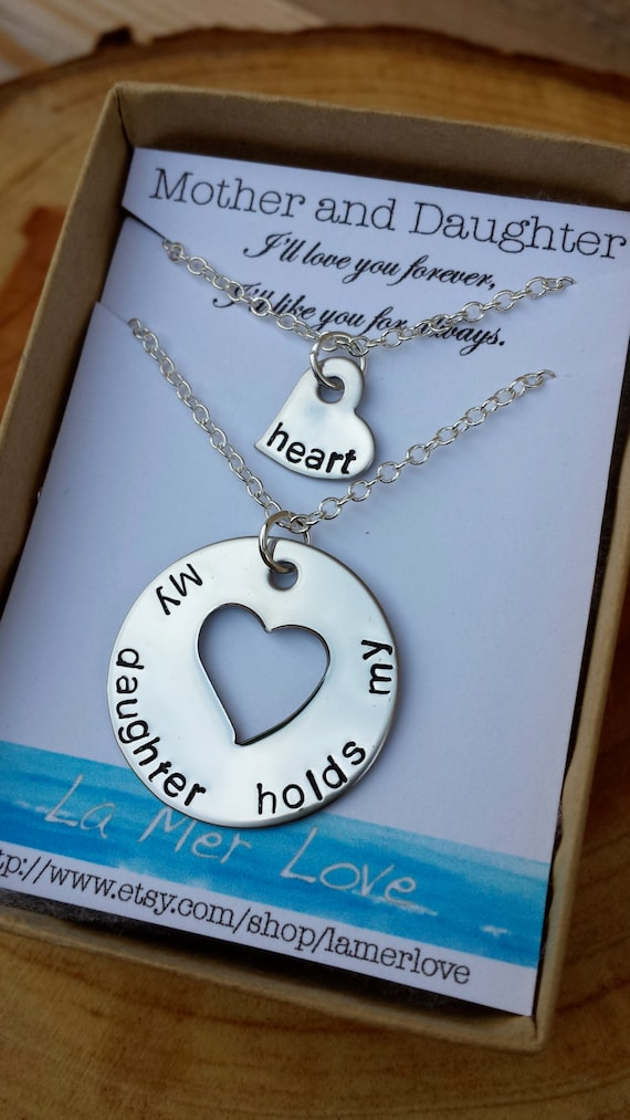 Mother and Daughter Necklace, My Daughter Holds My Heart, Personalized Necklace, Mom Jewelry, Matching Necklaces