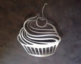 Cupcake Metal Wall Art - Kitchen Wall Decor - Kitchen Art - Cupcake Art - Silver Art - Bakery Art - Dessert - Metal Art