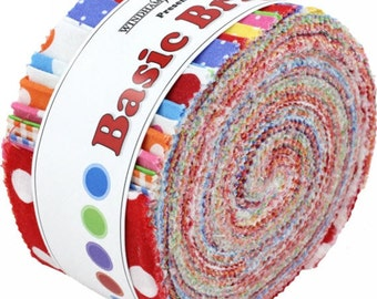 """Windham Basic Brights Jelly Roll - (40) 2.5"""" X 44"""" Strips Cotton Quilt Fabric - Windham Fabrics (W1456)"""