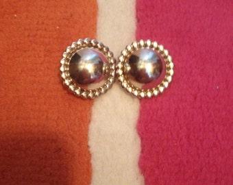 Sterling G.Nelson Domed Button Pierced Earrings