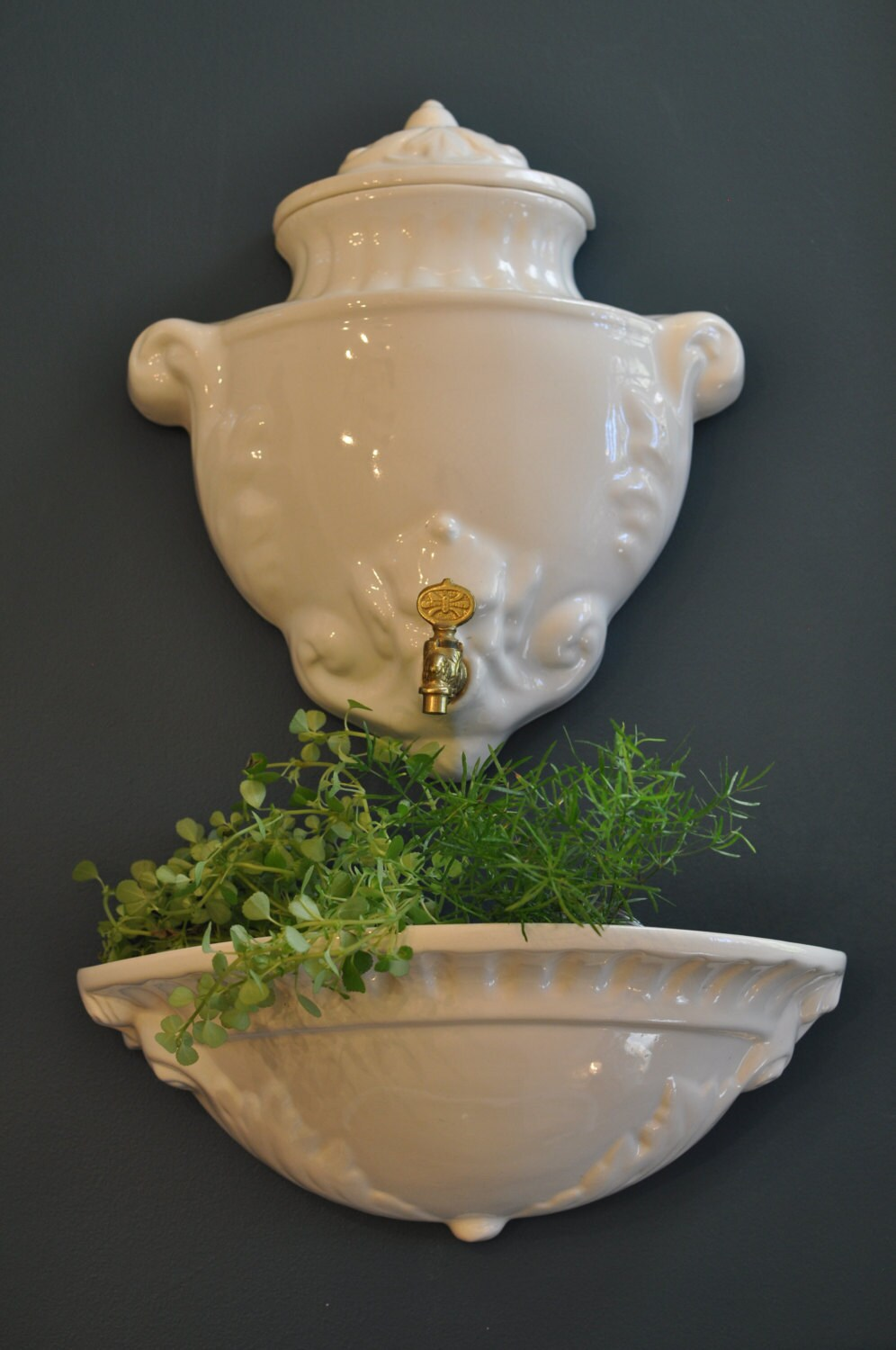 Vintage French Wall Fountain Lavabo Planter White Porcelain