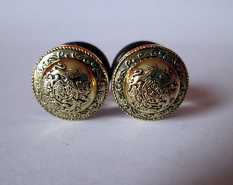 SALE - Gold Dome Shield Plugs - Available in 00g, 7/16 in, 1/2 in, and 9/16 in.