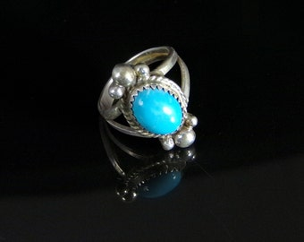 Sleeping Beauty Turquoise Ring Sterling Silver Handmade Size 6.0, R0413
