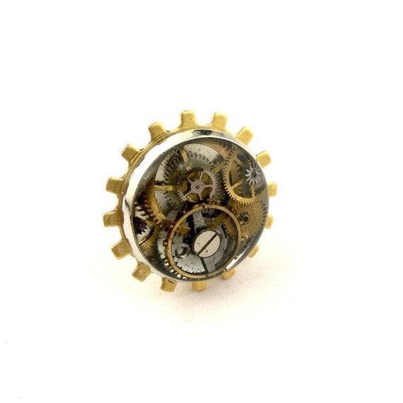 Clockwork Gear Tie Tack Steampunk Lapel Pin 2 By Steamsect