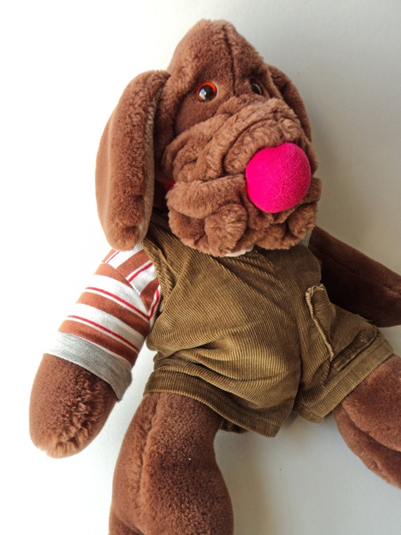 Wrinkles Chocolate Brown Dog Puppet Stuffed Animal Ganz