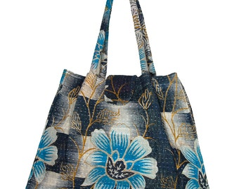 KANTHA Bag - Small - Black with turquoise flowers