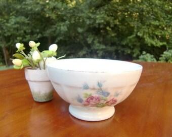 French vintage  white  bowl cafe au lait bowl, pink rose floral decor,porcelain bowl