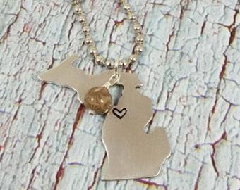 Michigan Necklace, Michigan Jewelry, State of Michigan Necklace, Michigan Pendant, Michigan State Necklace, Petoskey Stone, Petoskey Bead