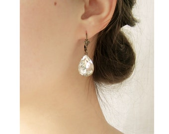 Bridal earrings, Rhinestone teardrop earrings, Wedding jewelry, Sparkly white crystal earrings - JOSEPHINE