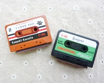 Vintage Retro Cassette Tape Stamp. I Love You Stamp. Bonjour Stamp. Wooden Stamp. Rubber Stamp. Scrapbooking. Gift Wrapping. Home Decor.