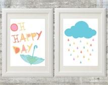 Oh Happy Day Children's Nursery Art 11x14 Print - Set of 2 Prints