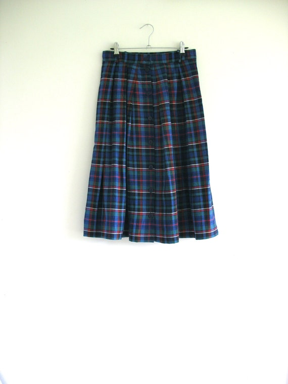 tartan plaid green and blue skirt rustic by