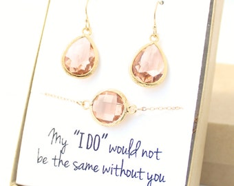 Peach Champagne / Gold Teardrop Earring and Circle Bracelet Set - Bridesmaid Earring and Bracelet Set - Bridesmaid Jewelry Set - EBB1