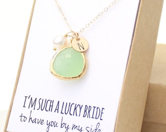 Light Mint Green / Gold Rounded Charm Necklace - Light Mint Bezel Bridesmaid Necklace - Personalized Charm Necklace - NB2