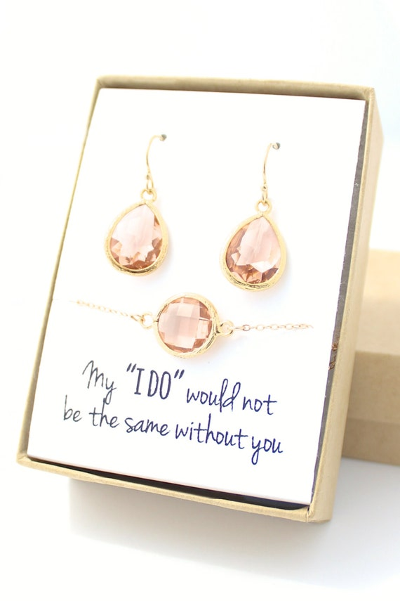 peach champagne/gold teardrop earring & circle bracelet set