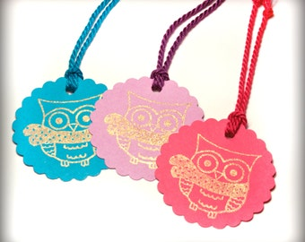 Owl Holiday tag set 9 Blank gift present tag neon Christmas winter