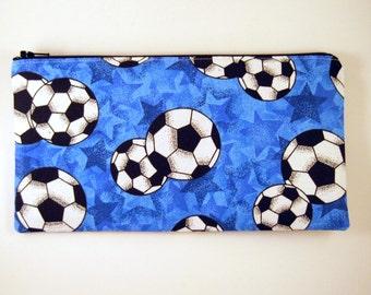 Blue Soccer Pencil Case, Pencil Pouch, Zipper Pouch, Gadget Bag, Make Up Bag