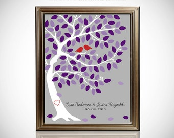 Custom Wedding Guest Book // Unique Wedding Guestbook // Wedding Tree Guestbook // Canvas or Matte Print 75-150 Guests // 16x20 Inches