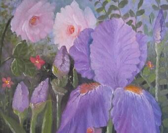 Garden Iris, original oil painting,12x12