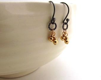 Gold ball cluster earrings, mixed metal earrings, delicate earrings, minimalist jewelry, gold trio earrings, small gold cluster earrings