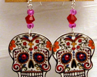 Sugar Skull Tattoo Earrings with Red Crystals, Swarovski Crystal accents
